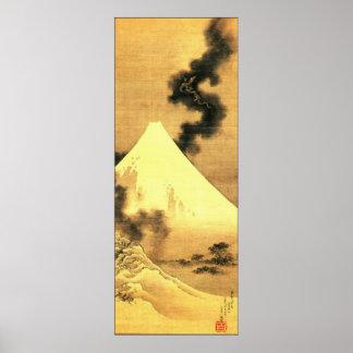 Hokusai The Dragon of Smoke Escaping Mount Fuji Print