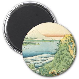 Hokusai - Travelers Climbing a Mountain Path 6 Cm Round Magnet