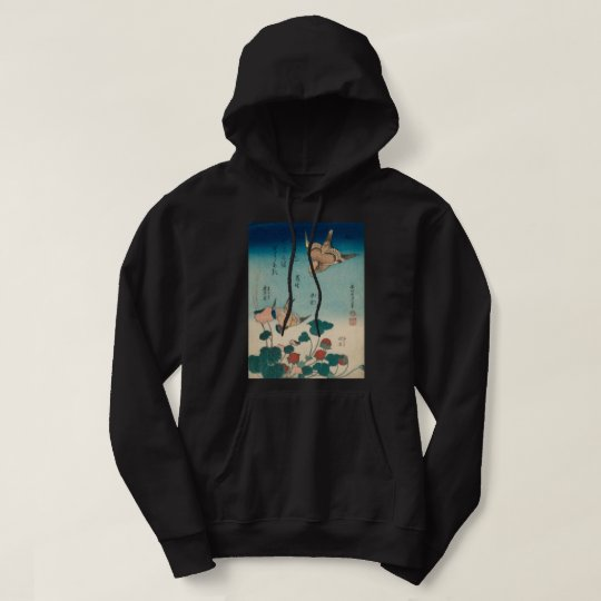 Hokusai Vintage Shrike and Bluebird GalleryHD Art Hoodie