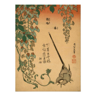Hokusai Wisteria and Wagtail GalleryHD Poster