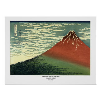 "Hokusai's South Wind, Clear Sky or ""Red Fuji"" Poster"