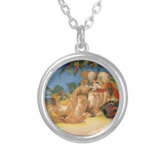 Hokusai's 'Tschin the Pet Dog' Necklace Round Pendant Necklace
