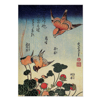 Hokusai's 'Wild Strawberries and Birds' Poster