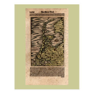 Holand - 1598 Hand Colored Woodblock Holland Map Post Card