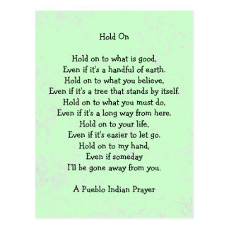 hold on prayer postcard