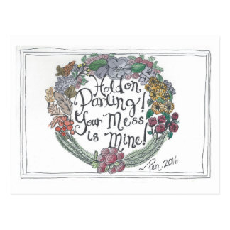 Hold On Sentiment Wreath Postcard (watercolor/ink)