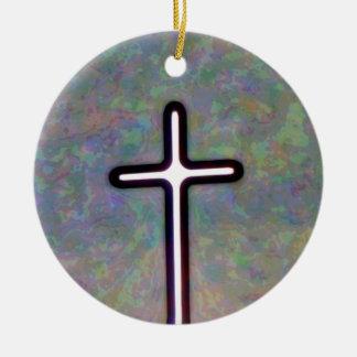 Hold the Light Inside Cross Ceramic Ornament