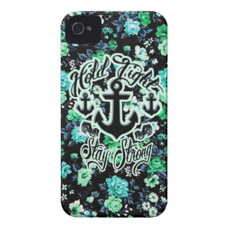 Hold Tight, Stay Strong Floral Nautical art. iPhone 4 Covers