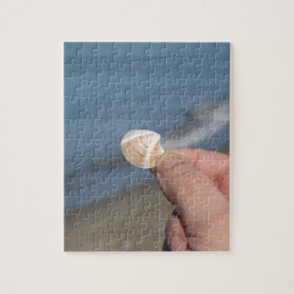 Holding a seashell in the hand jigsaw puzzle