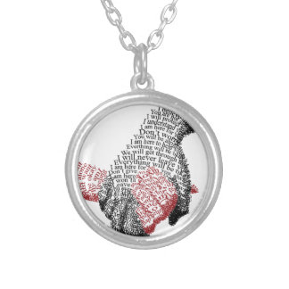 Holding Hands, Love conquers all Silver Plated Necklace