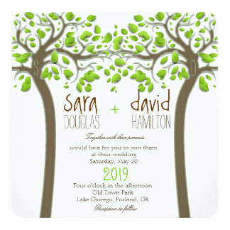 Holding Hands Trees Love Rustic Eco Wedding Custom Announcements