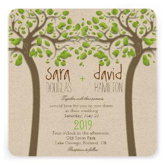 Holding Hands Trees Love Rustic Eco Wedding Invite