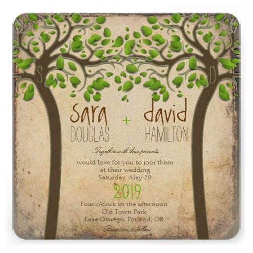 Holding Hands Trees Love Rustic Eco Wedding Custom Invitation
