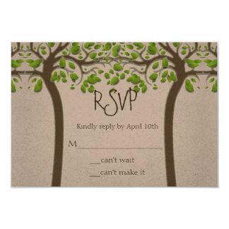 Holding Hands Trees Love Rustic Eco Wedding RSVP 9 Cm X 13 Cm Invitation Card