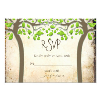 Holding Hands Trees Love Rustic Eco Wedding RSVP Personalized Invitations