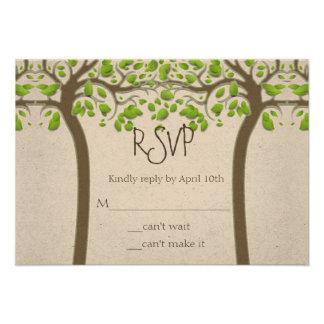 Holding Hands Trees Love Rustic Eco Wedding RSVP Invitations
