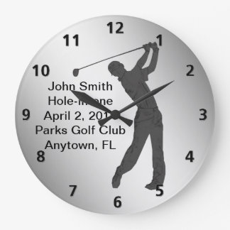 Hole-in-one Golf Swinger Customizable Large Clock