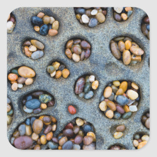 Holes filled with pebbles, CA Square Sticker