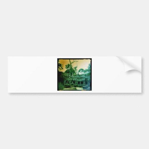 holga photo of  ta prohm in cambodia bumper sticker
