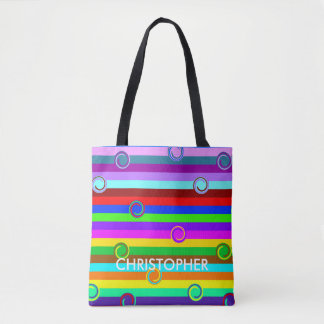HOLI colored Stripes Swirls pattern + your ideas Tote Bag