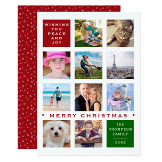 Holiday 12 Photo Custom Collage Card