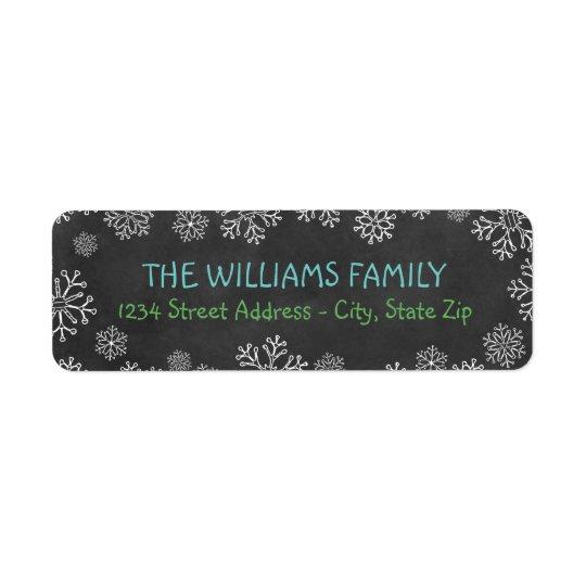 Holiday Address Labels | Black Chalkboard