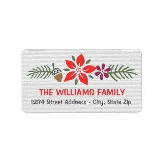 Holiday Address Labels | Poinsettia Design