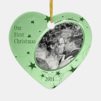 Holiday All Stars Photo/ Green Ceramic Heart Decoration