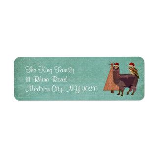 Holiday Amethyst Alpaca & Owl Address Label