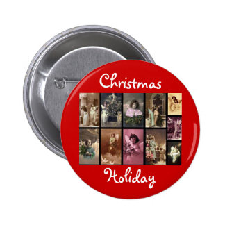 Holiday Angels Red Button Customizable Button