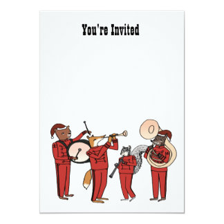 """Holiday Band Invite - Clear background 5"""" X 7"""" Invitation Card"""