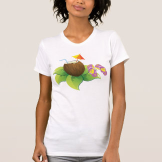 Holiday Beach Theme Coconut Drink and Flip Flops T-Shirt