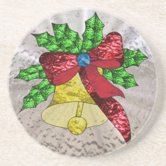 Holiday Bell in Stained Glass Drink Coasters