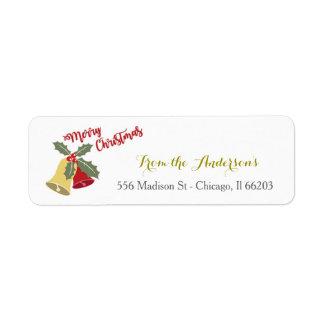 Holiday Bells Christmas Address Label