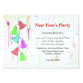 Holiday Bells New Year's Party Card