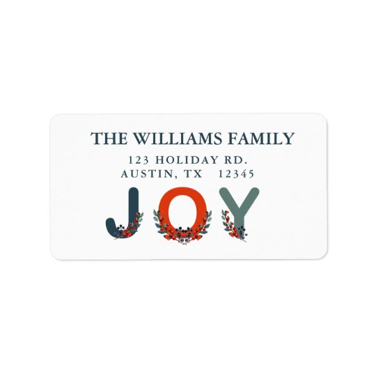 Holiday Berries Modern Joy Christmas Label