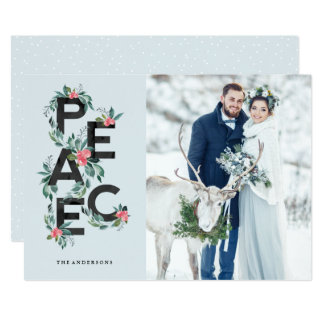 Holiday Berries Peace Photo Card