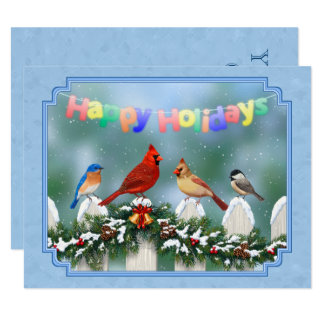 Holiday Birds & Christmas Garland 11 Cm X 14 Cm Invitation Card