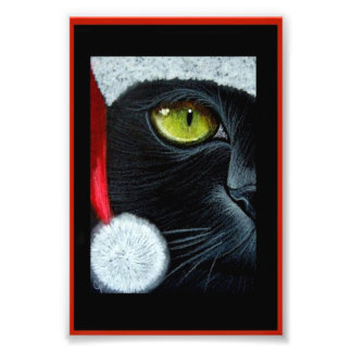 "HOLIDAY BLACK CAT with SANTA HAT PRINT 4"" X 6"""