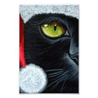 HOLIDAY BLACK CAT with SANTA HAT PRINT Photographic Print