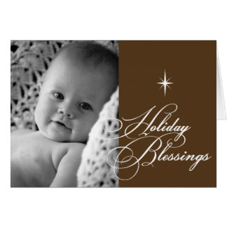 Holiday blessings bright star christmas photo greeting card