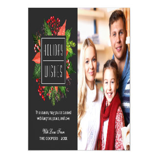 Holiday Blessings Holly Berries Christmas Photo Magnetic Invitations