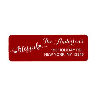 Holiday Blessings Red White   Return Address Label
