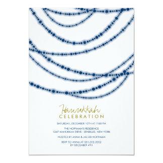 Holiday Blue Sparkles Hanukkah Celebration Party 13 Cm X 18 Cm Invitation Card