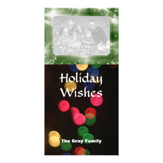Holiday Bokeh Lights Modern Bright Family Photo Card