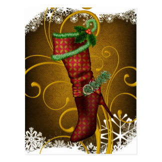 Holiday Boot Christmas Postcard