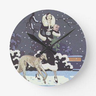 Holiday Borzoi Lady In Snow Round Clock