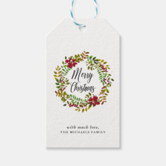 Holiday Botanical Merry Christmas Wreath Gift Tag