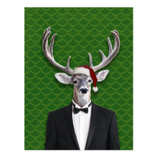 Holiday Buck In Santa Hat and Tuxedo Postcard