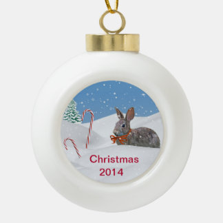 Holiday Bunny Rabbit in Snow, Customizable 2014 Ceramic Ball Decoration